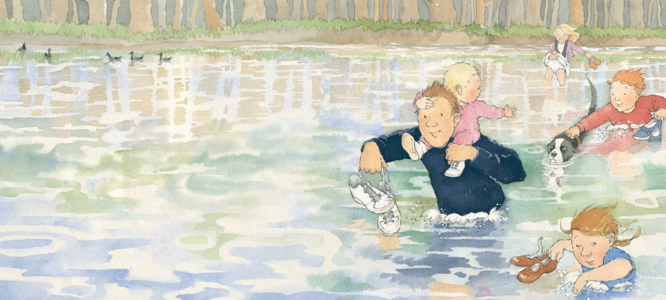 Colour illustration from We're Going on a Bear Hunt - family wading in water.