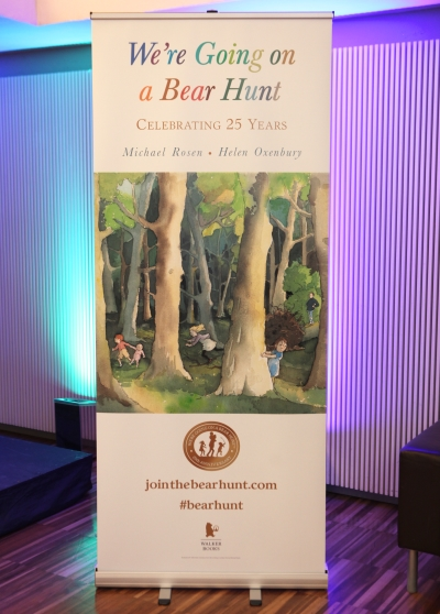 We're Going on a Bear Hunt Pull Up banner with image of woods on it